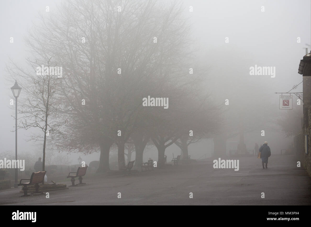 Park Walk Shaftesbury Dorset England UK on a foggy day in February 2018. In clear weather it is noted for its views over the countryside. Stock Photo