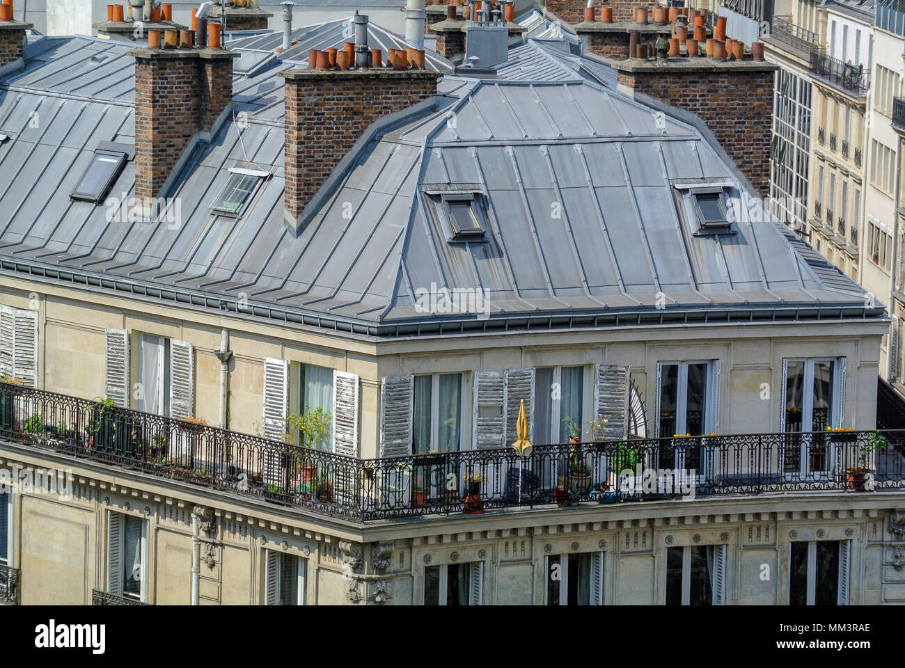 Rooftop Of French Apartment With Balcony Paris France Stock Photo Alamy