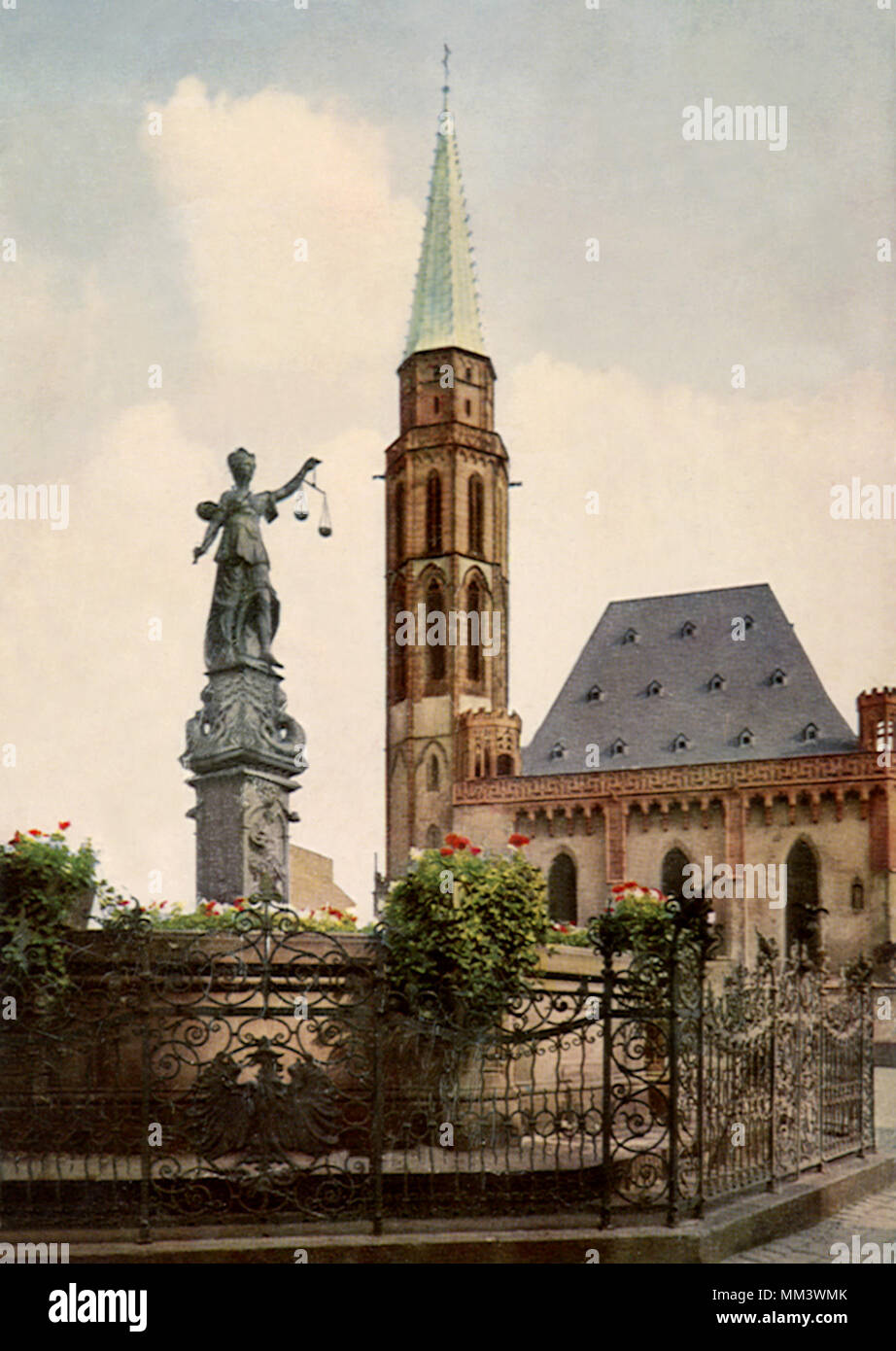 Justitia Fountain & Church. Frankfurt. 1930 - Stock Image