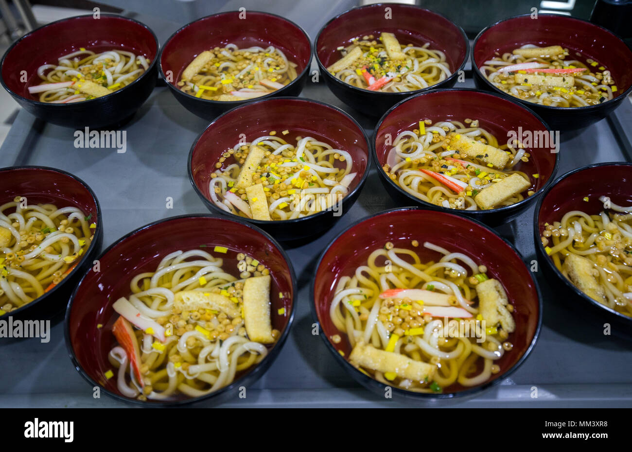 Udon bowls on the table, prepare for serves - Stock Image