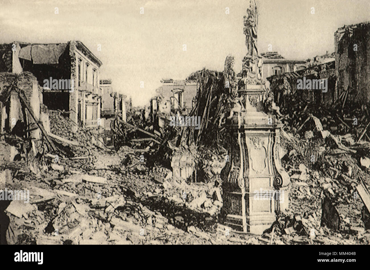 Ruins after 1908 Disaster. Messina. 1908 - Stock Image