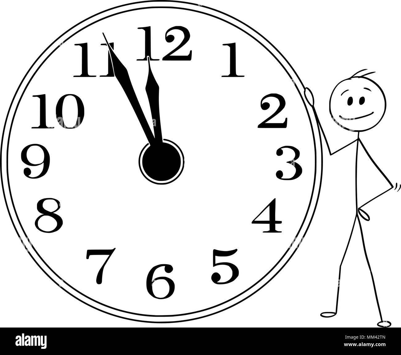 Cartoon Of Smiling Man Or Businessman Holding Big Wall Clock Five