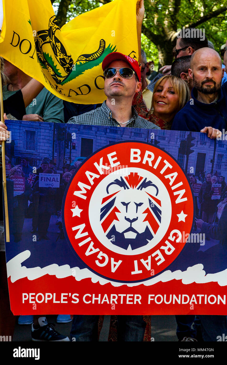 People from across the Uk take part in a freedom of speech rally organised by the right wing activist Tommy Robinson, London, UK - Stock Image