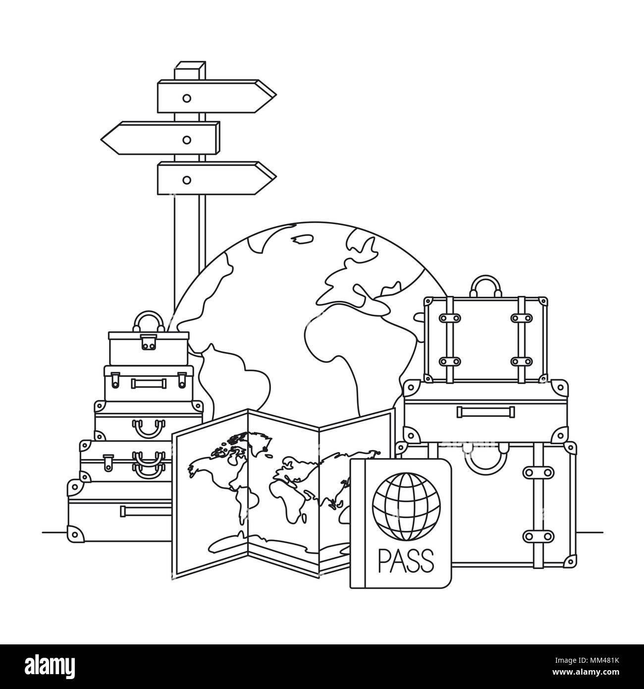 travel around the world set icons - Stock Image