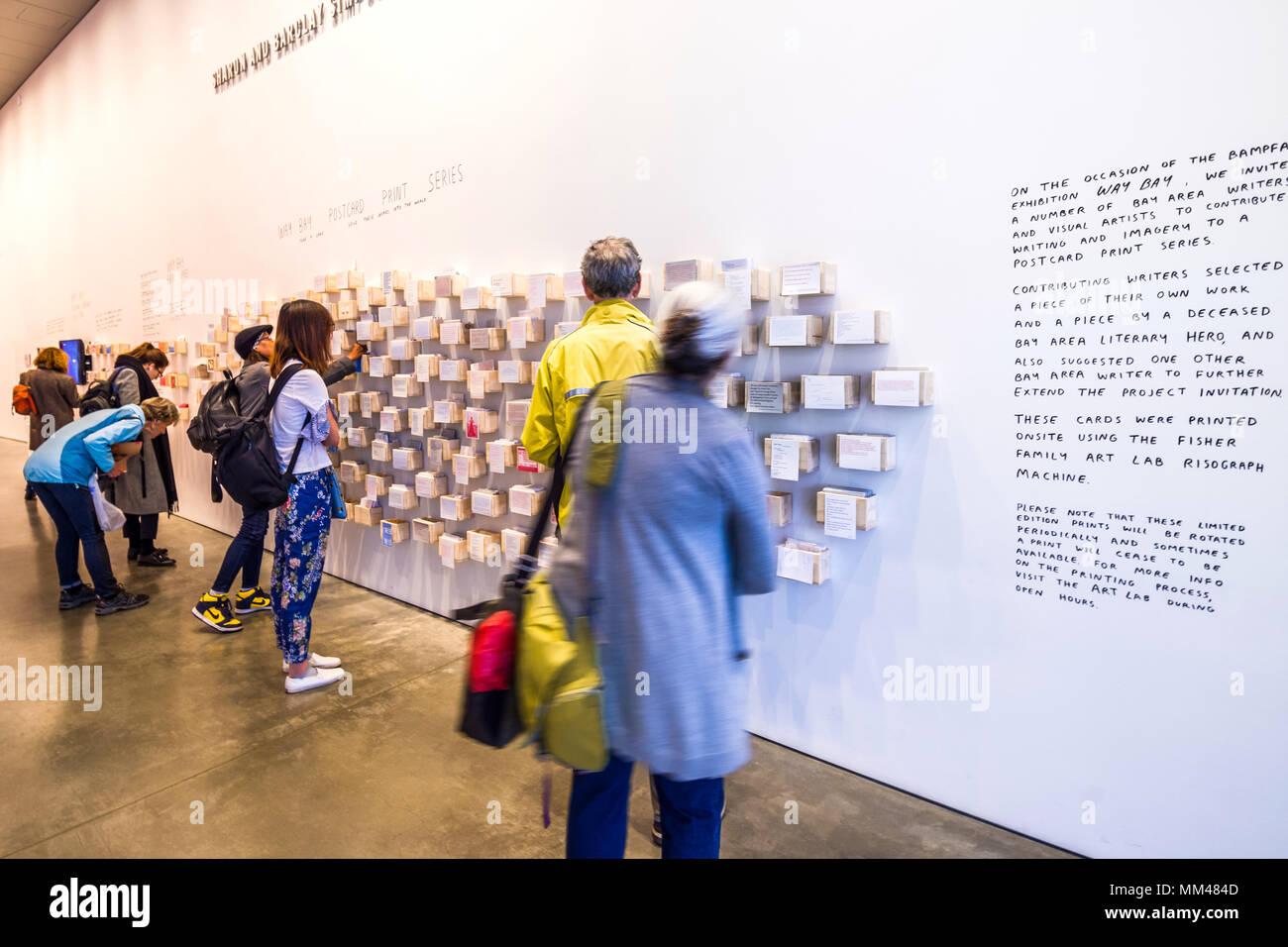Wall of free postcards at  the UC Berkeley Art Museum, Berkeley, CA, USA. - Stock Image