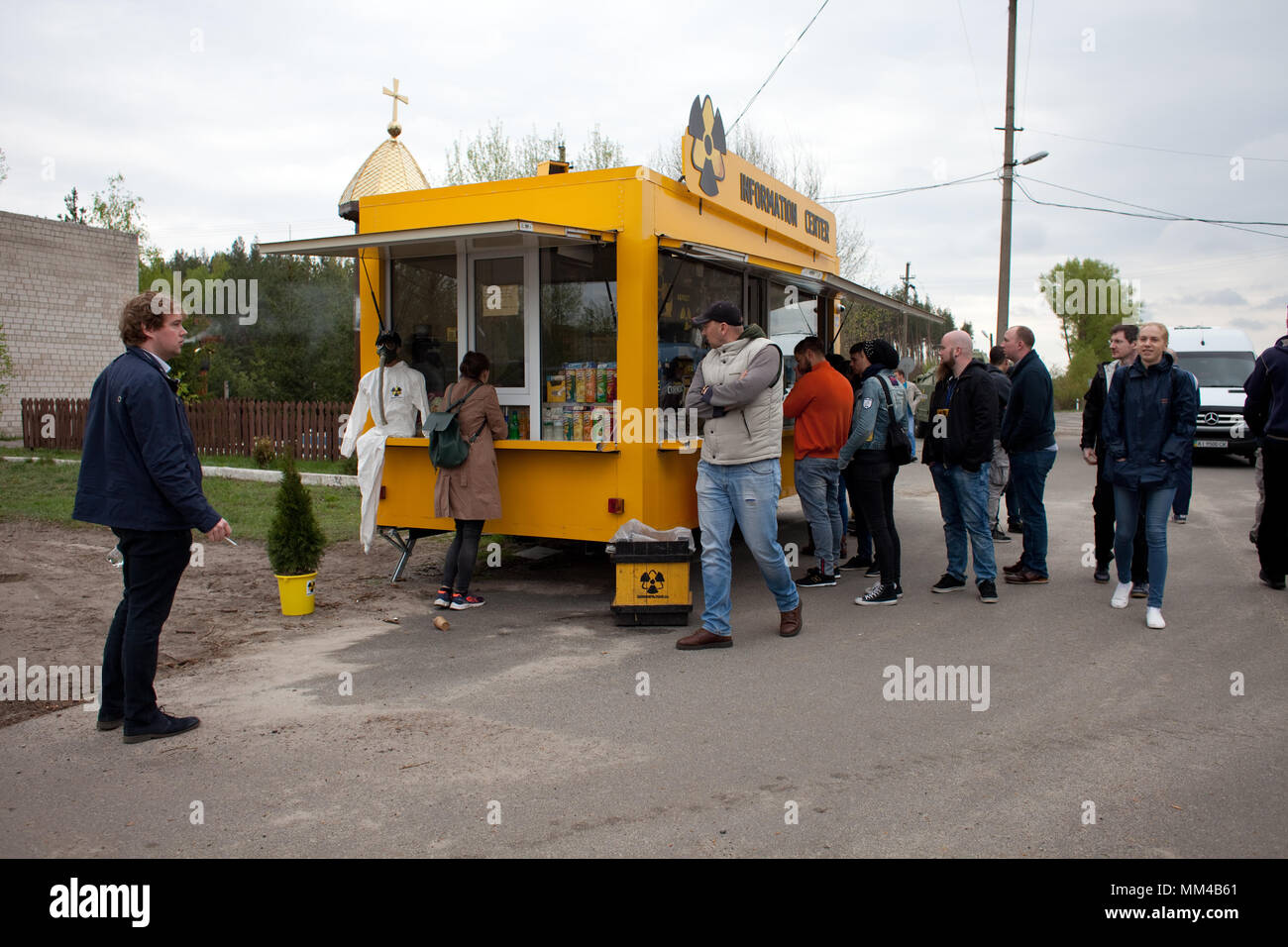 Visitors at entrance checkpoint to Chernobyl Exclusion Zone, Ukraine - Stock Image