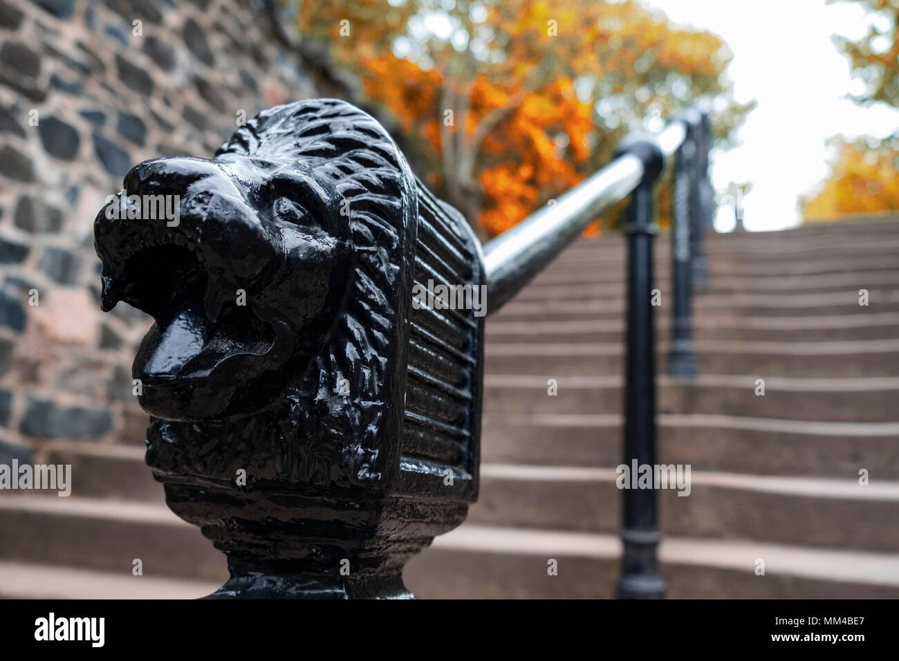 Detail ornate handrail of steps leading to Calton Hill in Edinburgh, Scotland, UK - Stock Image