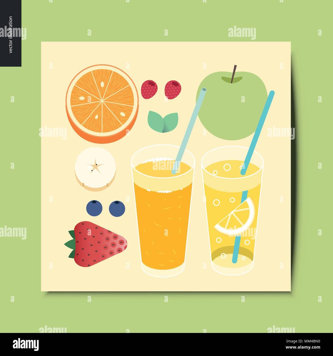 Simple things - fruit and berries - flat cartoon vector illustration of breakfast meal, fruit, berries, mint, fresh orange juice and lemonade- summer  - Stock Vector