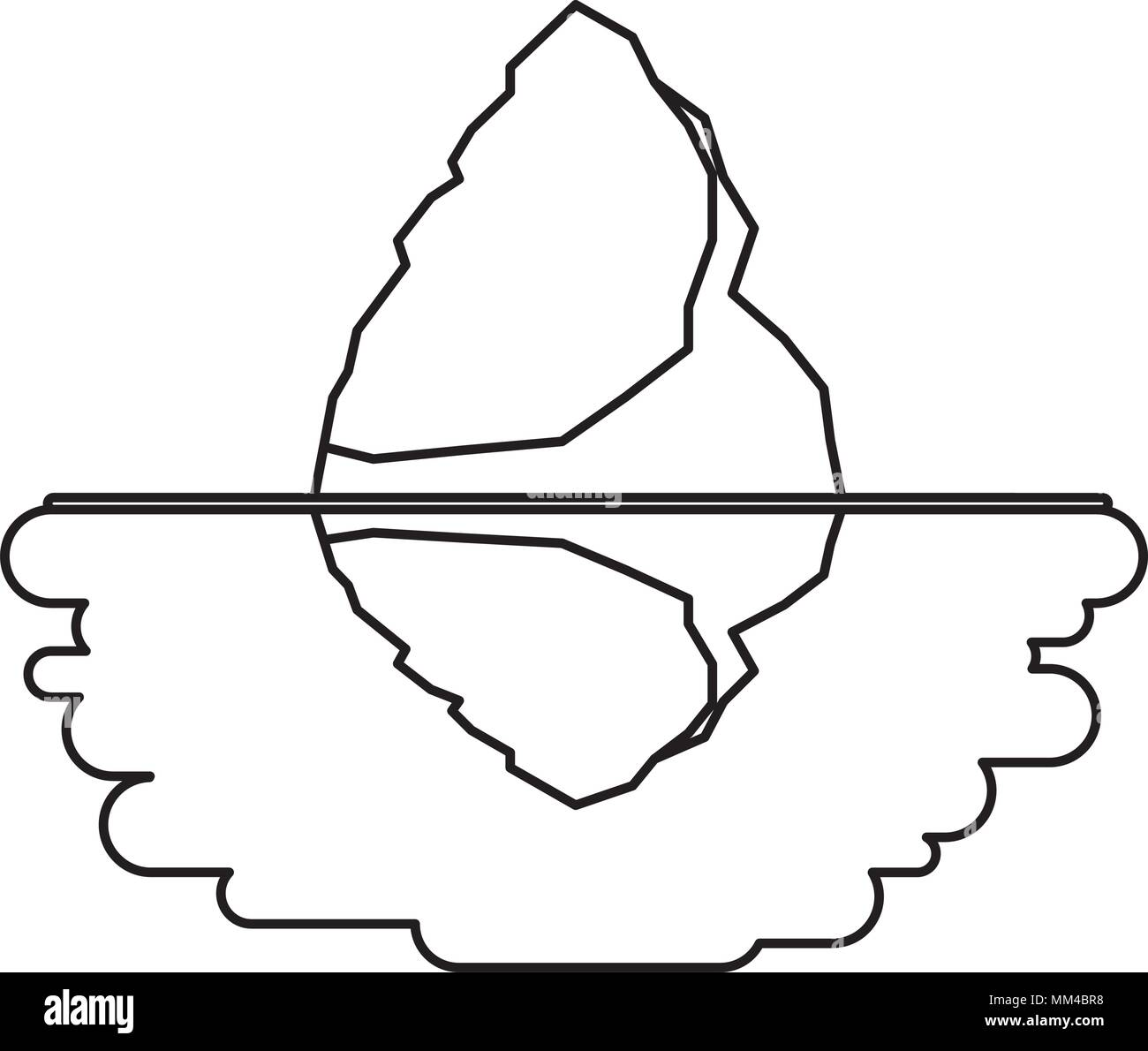 iceberg floating in the water - Stock Vector
