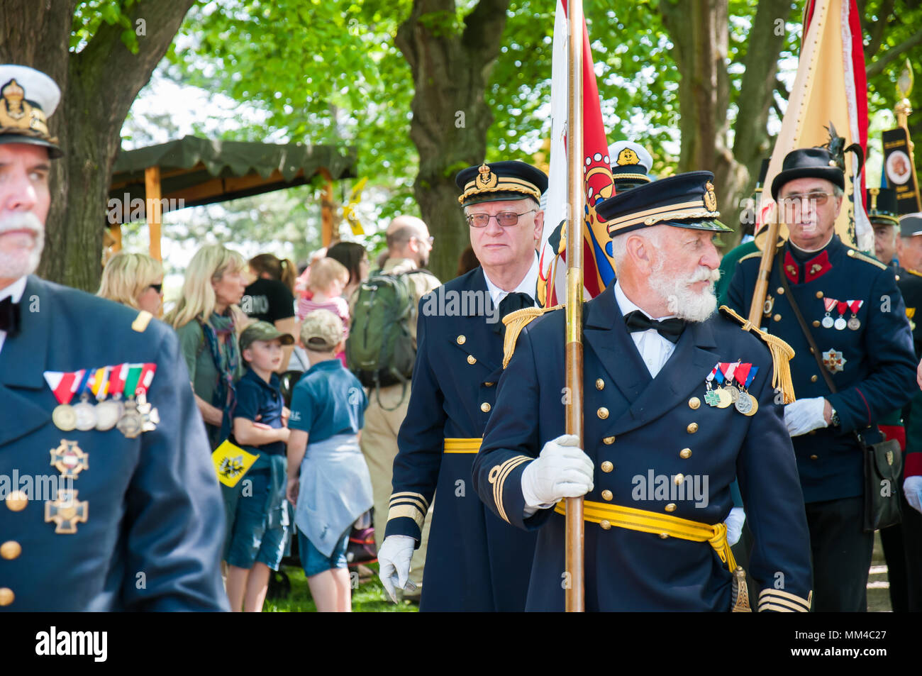 Brandys nL, Czech Republic, April 28, 2018, Audience with Emperor Charles I men in the uniforms of the Austro-Hungarian Army - Stock Image