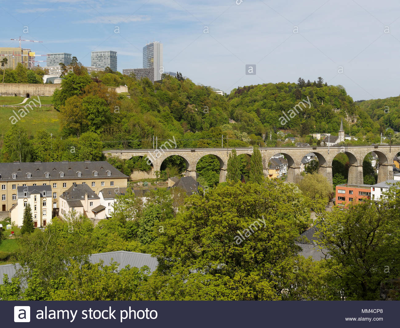 Pfaffenthal Railway viaduct, Kirchberg financial district, Luxembourg City with copy space - Stock Image
