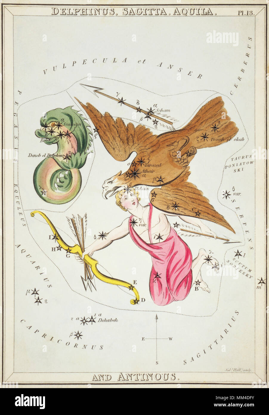 Delphinus, Sagitta, Aquila and Antinous. Card Number 13 from Urania's Mirror, or A View of the Heavens, one of a set of 32 astronomical star chart cards engraved by Sidney Hall and publshed 1824. - Stock Image