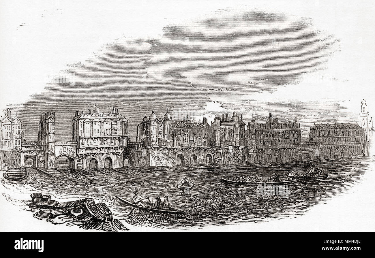 London Bridge, London, England, just before the houses were demolished in 1760. From Old England: A Pictorial Museum, published 1847. - Stock Image