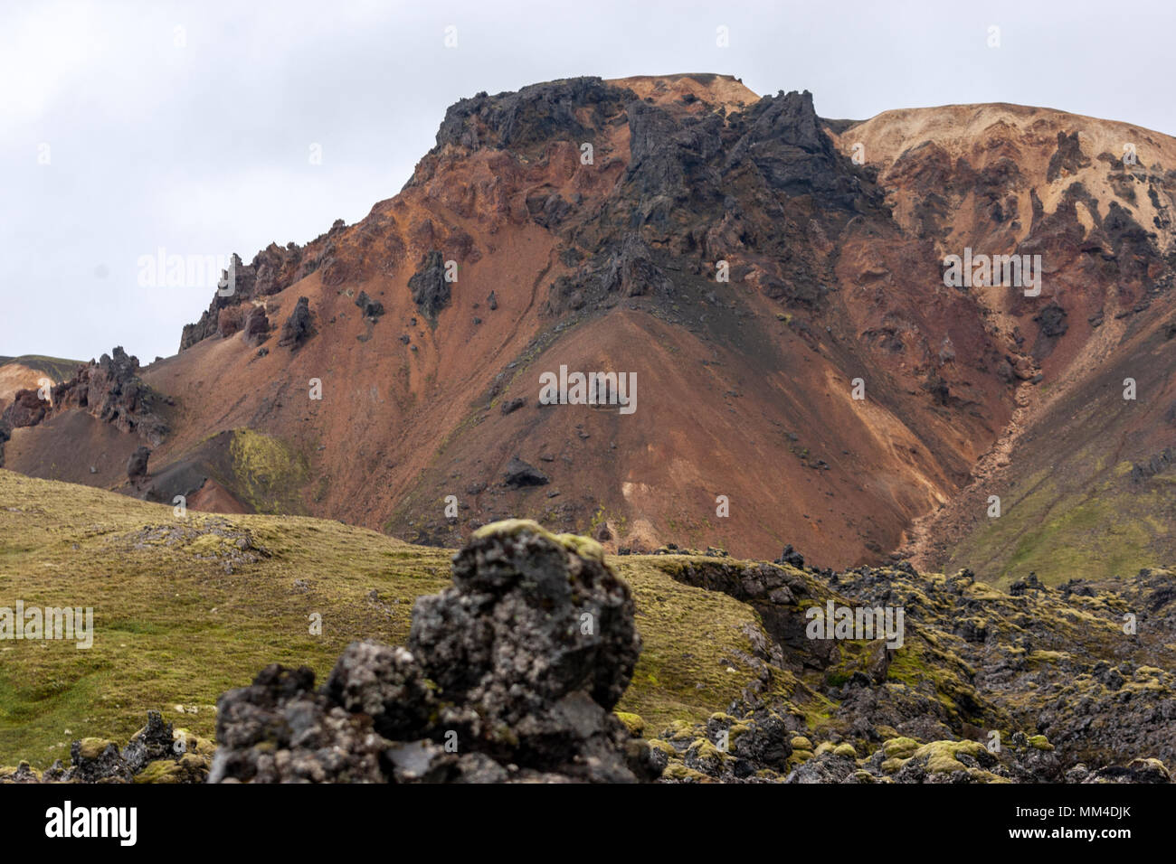 Landmannalaugar  lava field,  Fjallabak Nature Reserve, Iceland - Stock Image