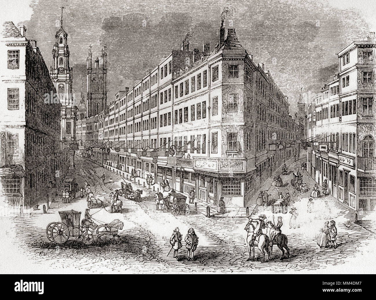 Cornhill, The Exchange and Lombard Street, London, England in the mid 19th century.  From Old England: A Pictorial Museum, published 1847. - Stock Image
