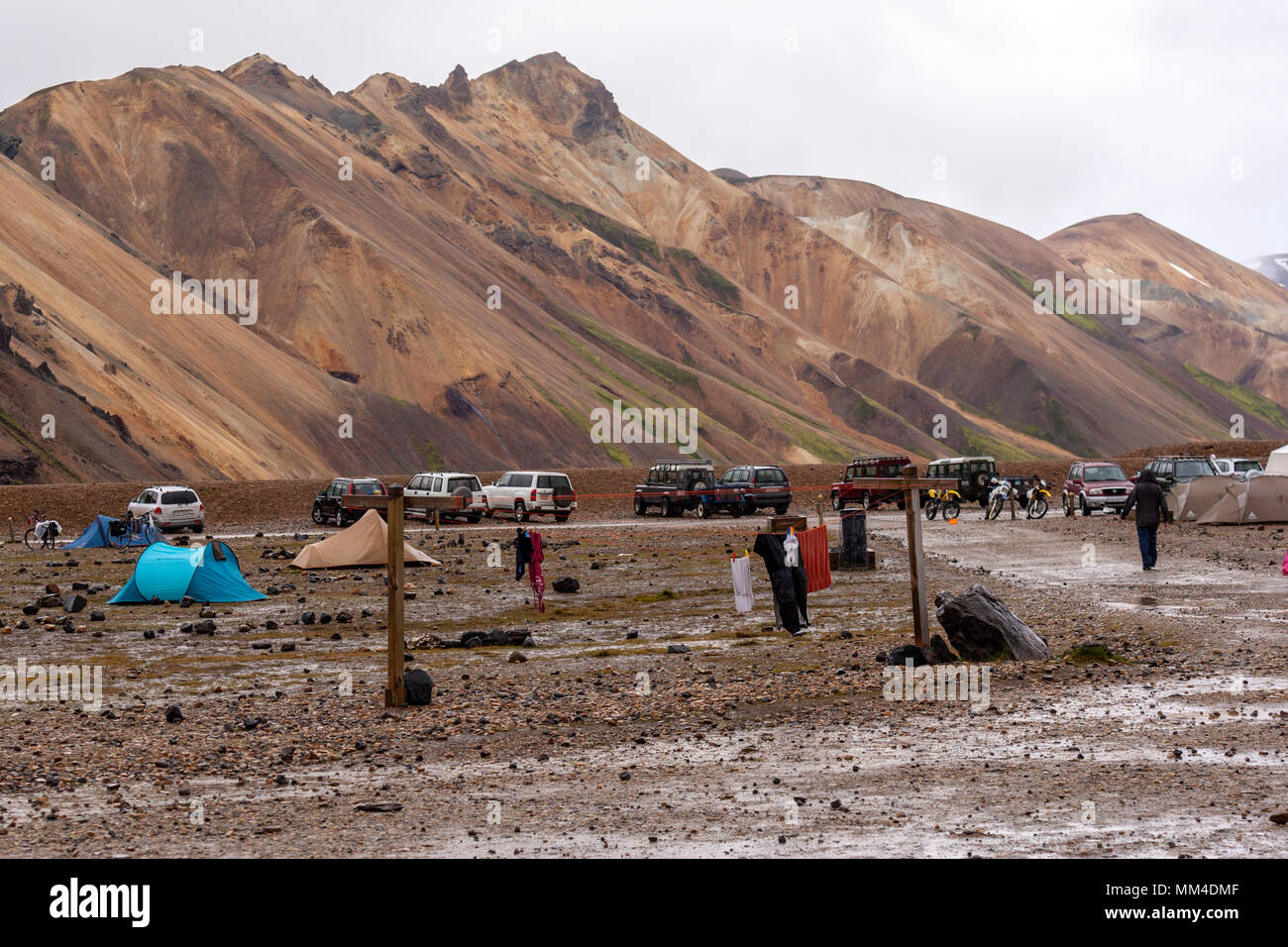 Cloths drying in a wet day in the campsite in the Landmannalaugar valley, Landmannalaugar,  Fjallabak Nature Reserve, Iceland - Stock Image