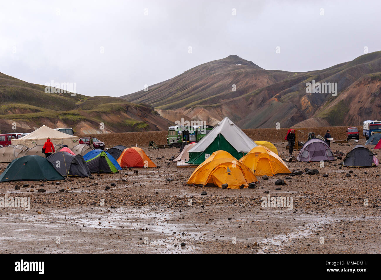 The campsite in the Landmannalaugar valley, Landmannalaugar,  Fjallabak Nature Reserve, Iceland - Stock Image