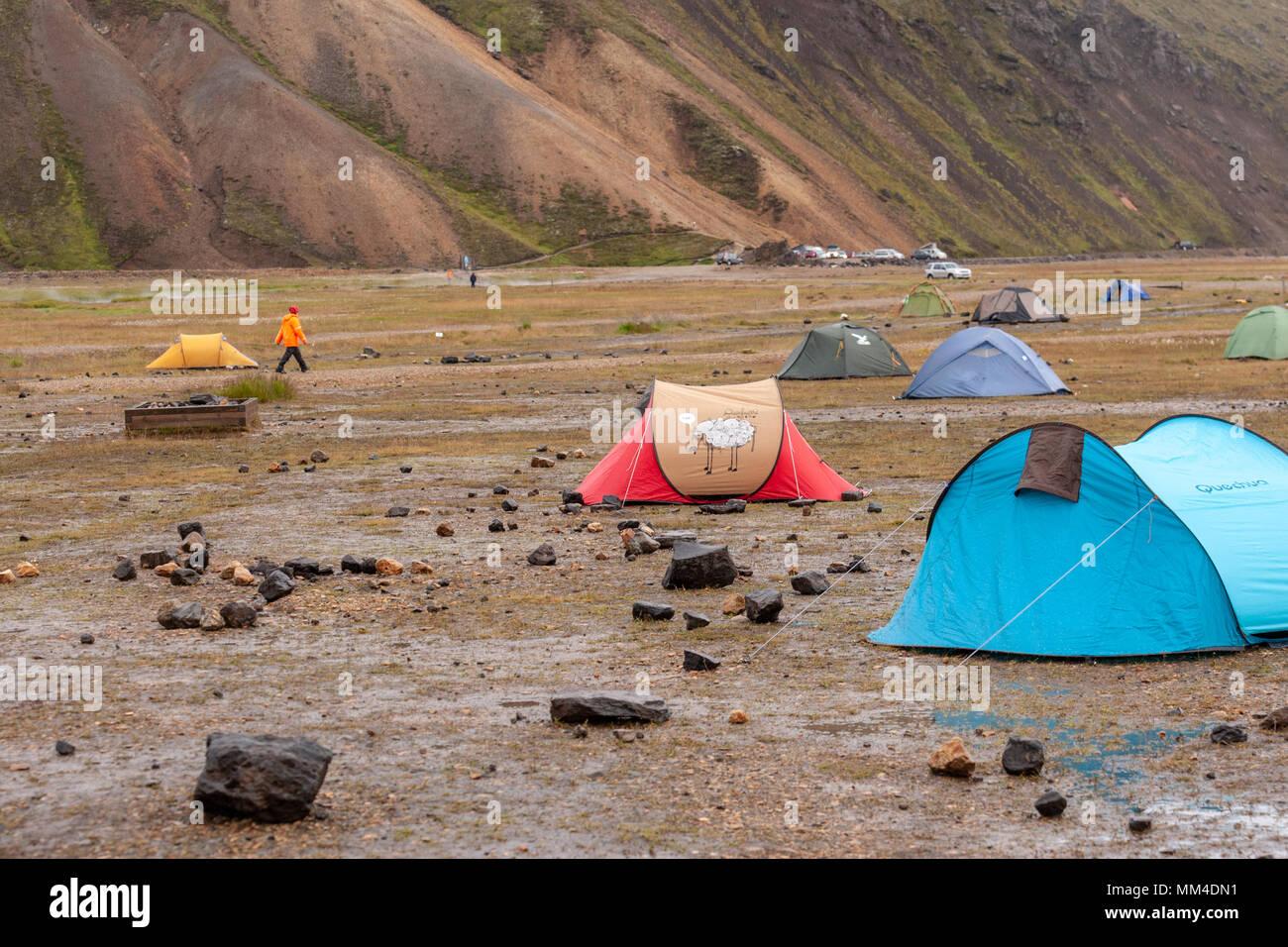 The campsite in the Landmannalaugar valley, Landmannalaugar,  Fjallabak Nature Reserve, Iceland - Stock Image