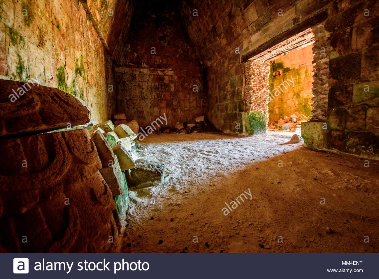 Inside of Palacio del Gobernador-Governor's Palace, Maya archeological site Uxmal, Yucatan Province, Mexico, Central America - Stock Image