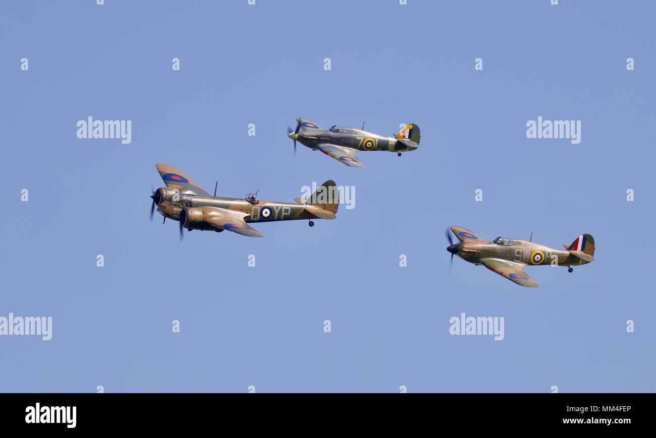 The World's only flying Bristol Blenheim MK1 flying in formation with 2 Hawker Hurricanes at Shuttleworth season premiere airshow celebrating RAF 100 - Stock Image