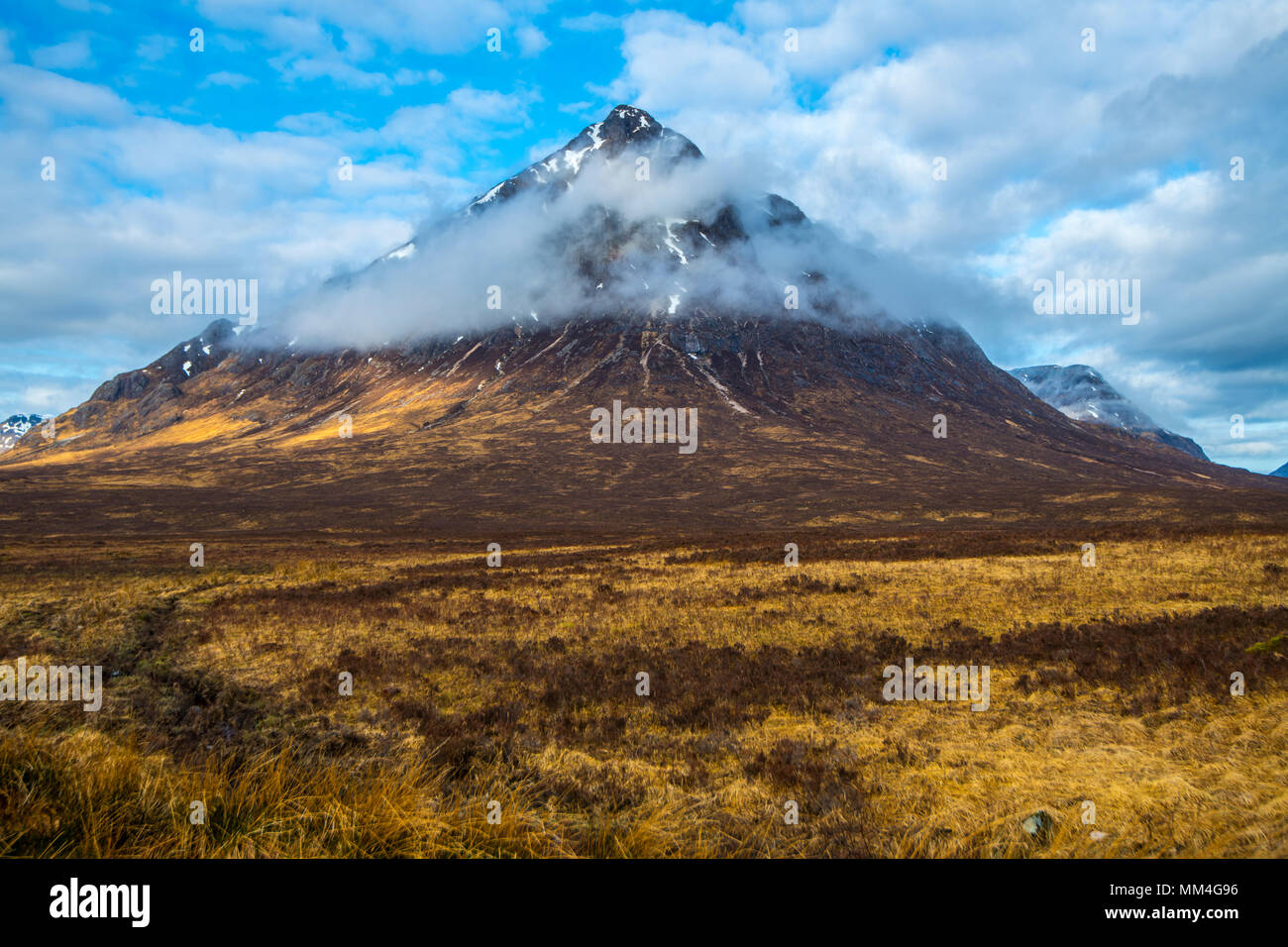 Buachaille Etive Mor - great pyramidal Etive Shepherd Mountain (3.350 feet) at the junction of Glen Coe and Glen Etive in the Highlands of Scotland Stock Photo