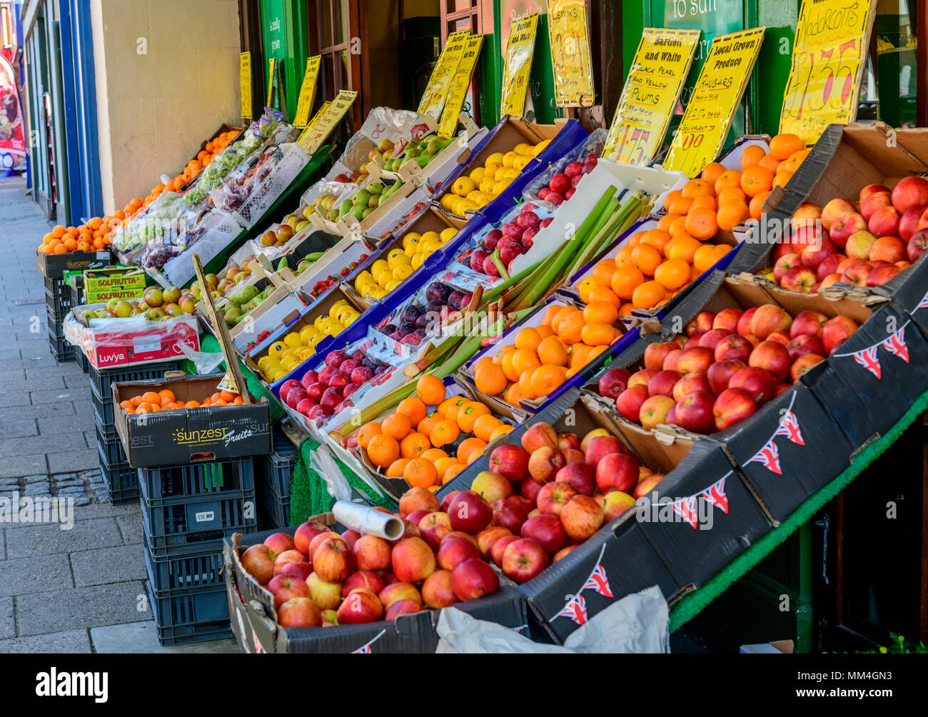Grand display of fruit and vegetables, Bartlett and white greengrocers Ramsgate - Stock Image