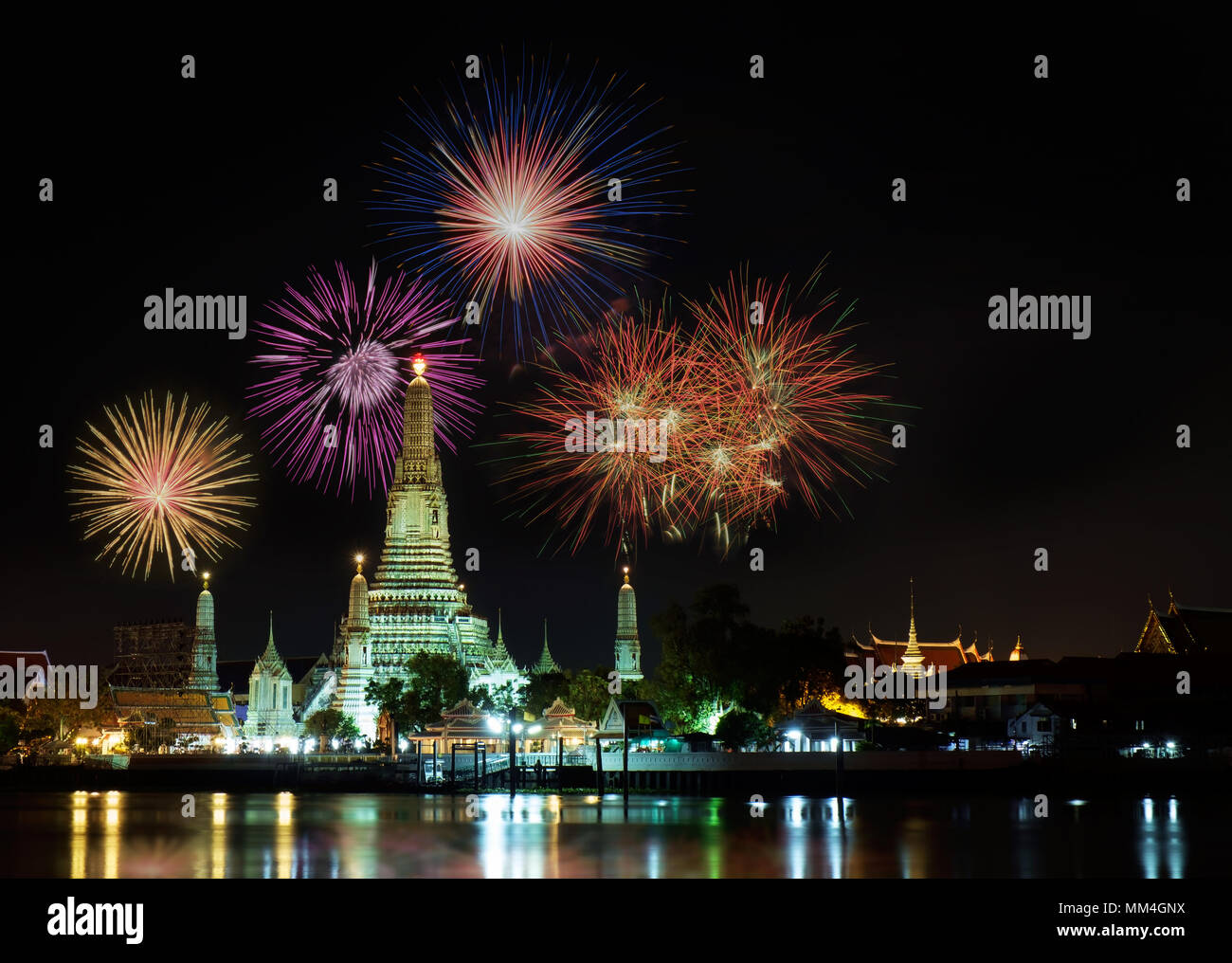 happy new year 2016 countdown 2016 at wat arun temple with fireworks bangkok thailand