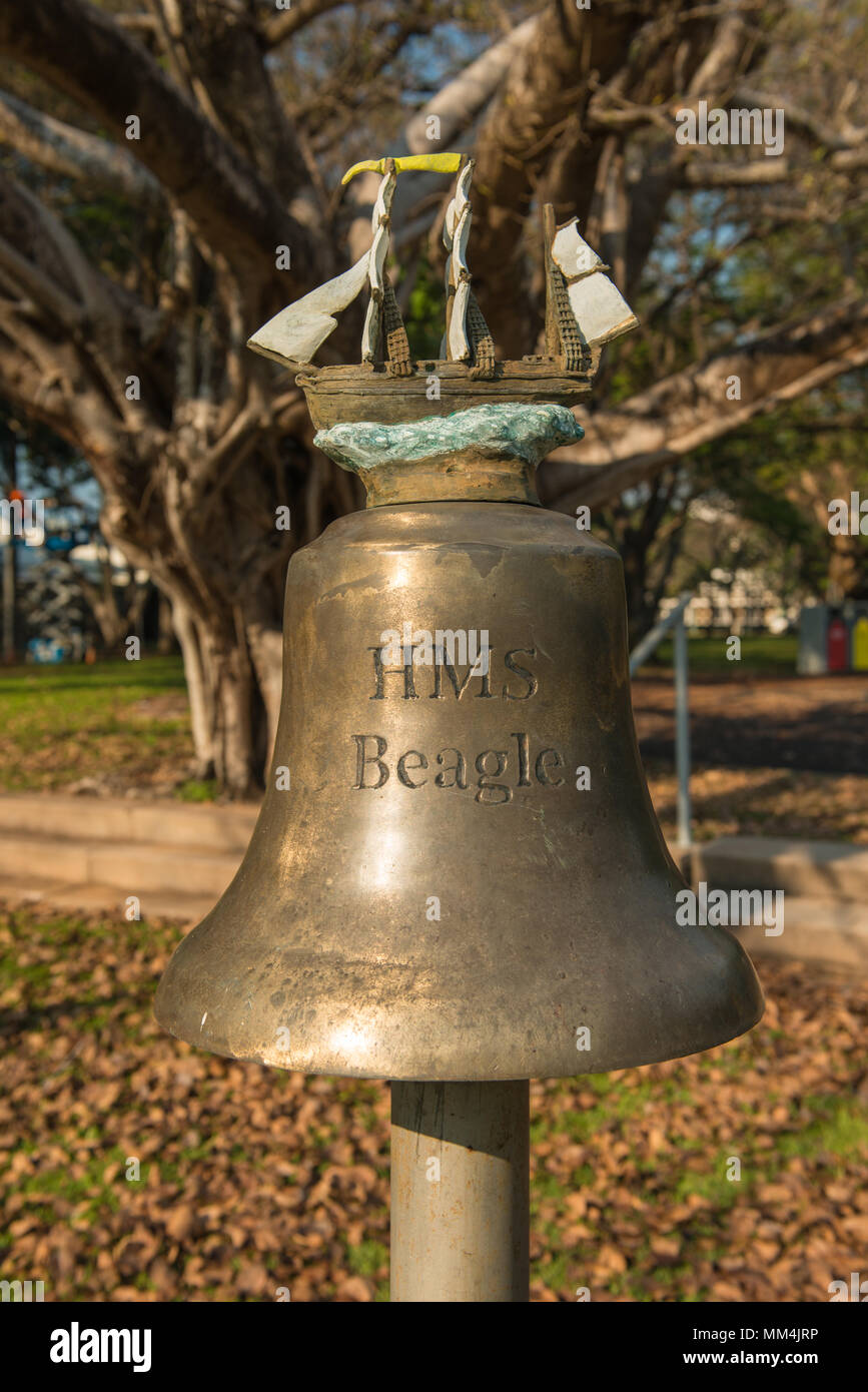 Replica of the ship's bell of HMS Beagle in Civic Park, Darwin, Australia. Part of the HMS Beagle Ship Bell Chime musical instrument. - Stock Image