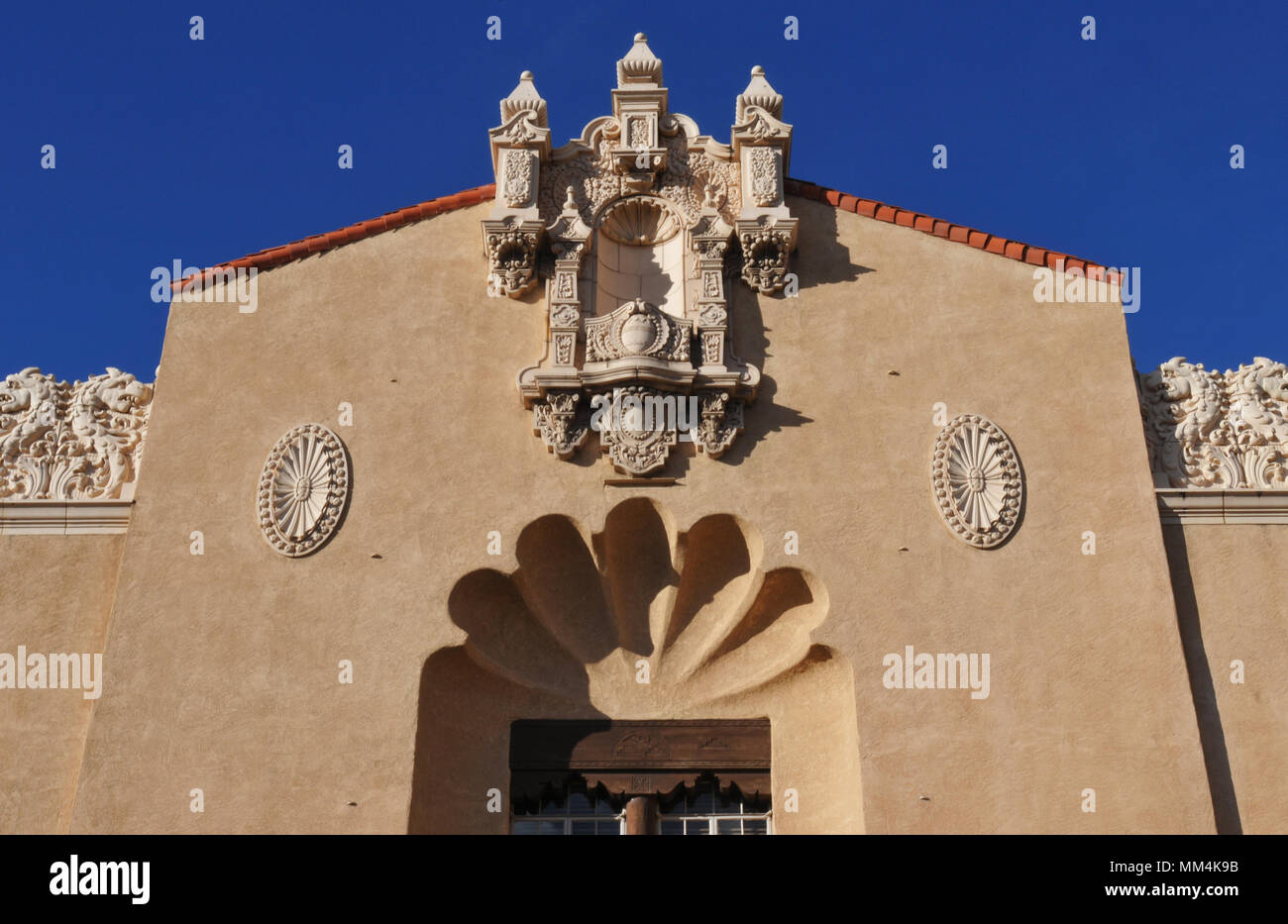 Exterior ornamentation on the Lensic Theater in Santa Fe, New Mexico. The landmark opened in 1931; an extensive restoration was completed in 2001. - Stock Image