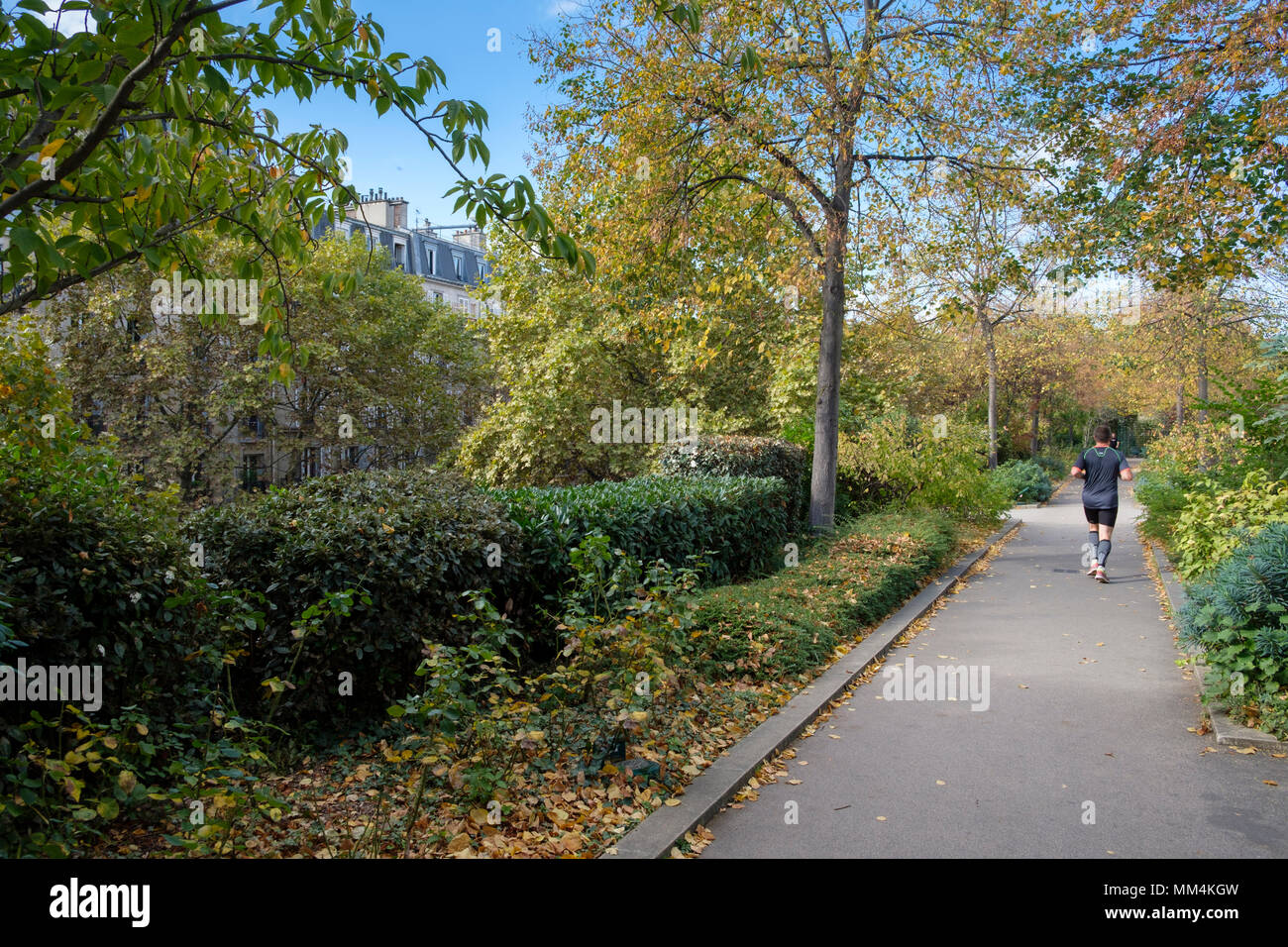 People enjoying The Promenade Plantée or Coulée verte René-Dumont, Elevated park in 12th arrondissement, Paris, France Stock Photo