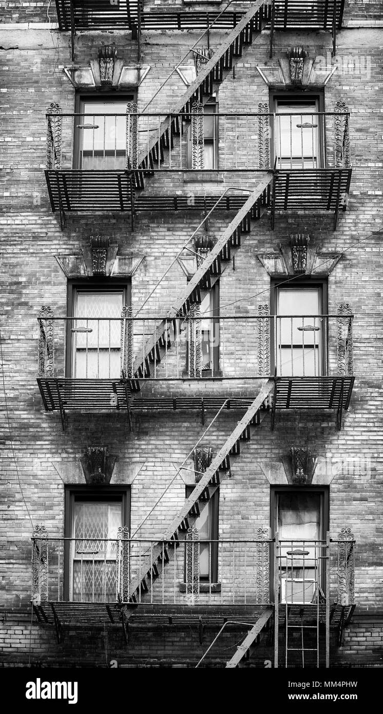 Black And White Picture Of Fire Escapes One Of The New York City