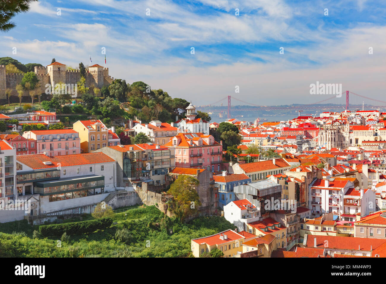 Historical centre of Lisbon on sunny day, Portugal Stock Photo