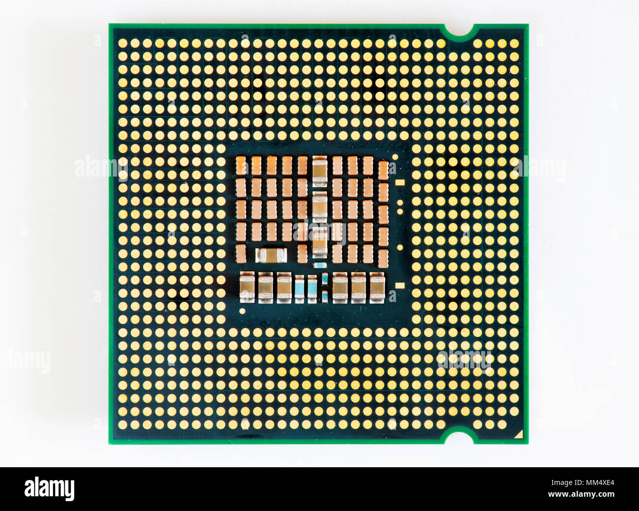 Electrical contacts on the backside of Intel Q6600 CPU (Central Processing Unit). - Stock Image