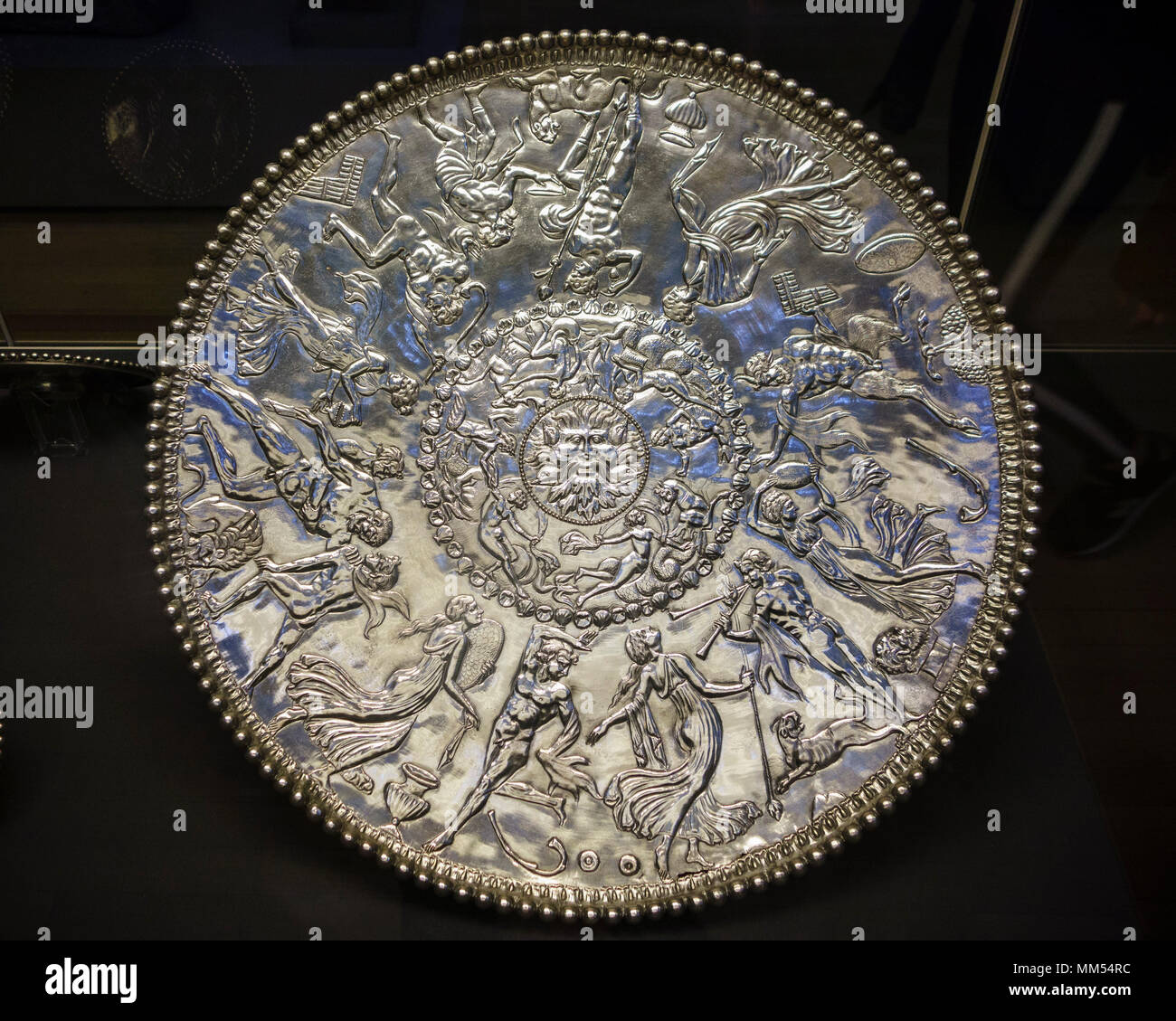 London. England. British Museum. The Mildenhall Great Dish, aka Neptune or Oceanus Dish, is a 4th century AD Roman Bacchic silver platter, and is the  - Stock Image
