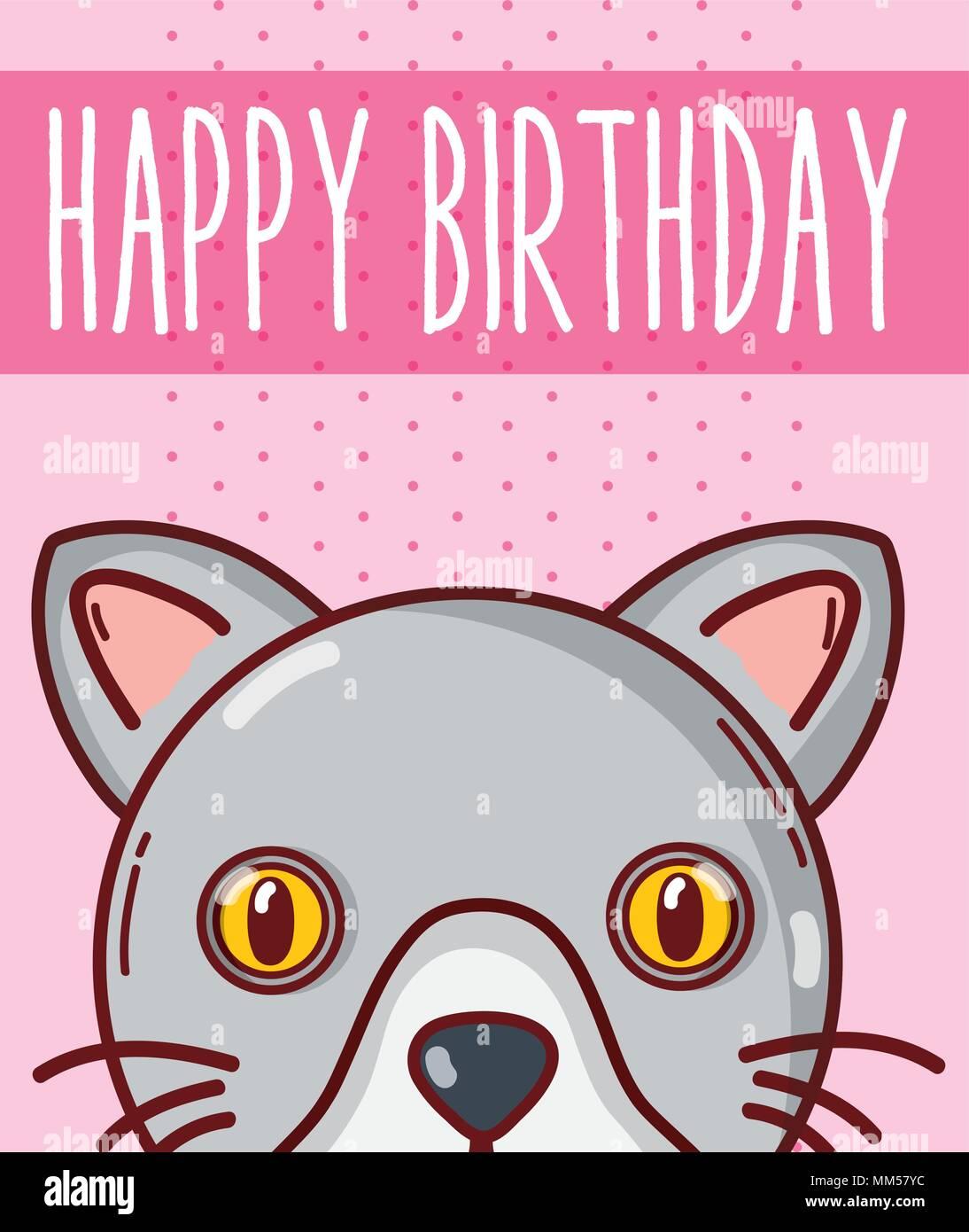 Happy birthday card with animal cartoon - Stock Image