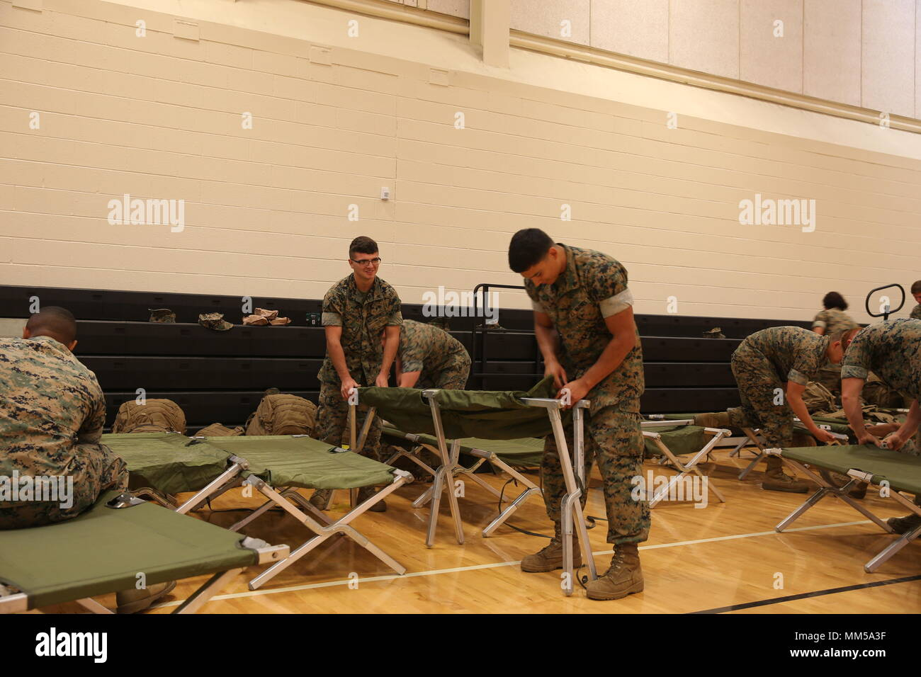 U S  Marines with Marine Corps Air Station (MCAS) set up