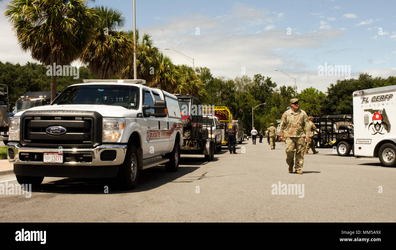 The Florida National Guard's Chemical Biological Radiological Nuclear Emergency Response Force-Package links up with the Florida Fish and Wildlife Conservation Commission for a maritime search and rescue mission in response to Hurricane Irma. The FWC leads the state's only maritime search and rescue, and for this mission are joined by teams from New York State Division of Homeland Security & Emergency Services and Urban Search and Rescue. Stock Photo