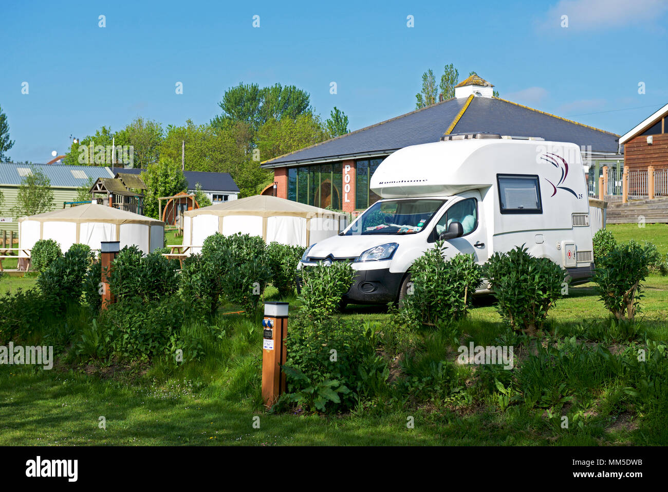 The Waveney River Centre campsite, Burgh St Peter, Norfolk, England UK - Stock Image