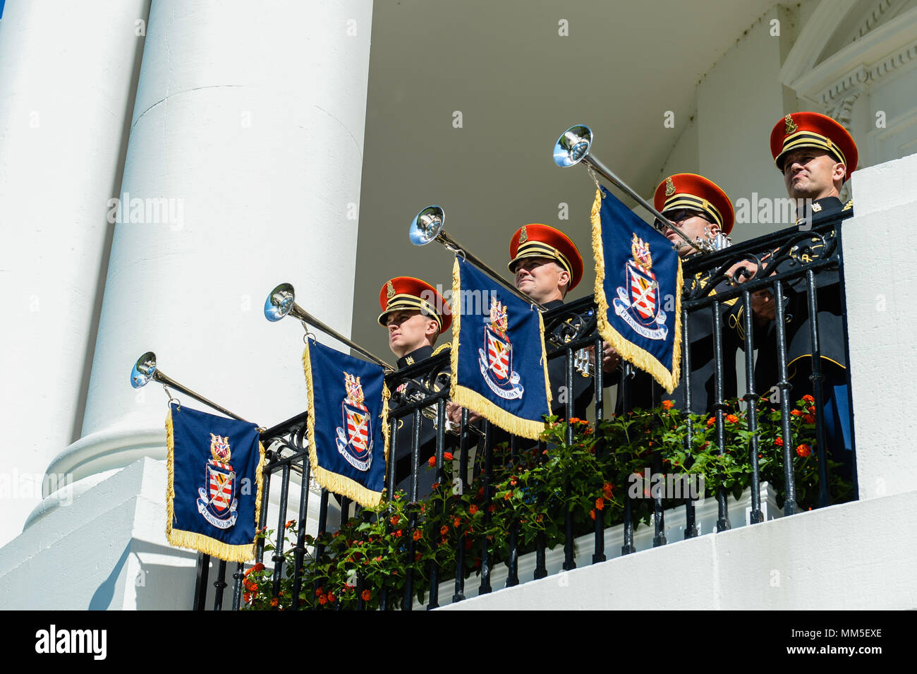 The U S  Army Herald Trumpets play during an Armed Forces