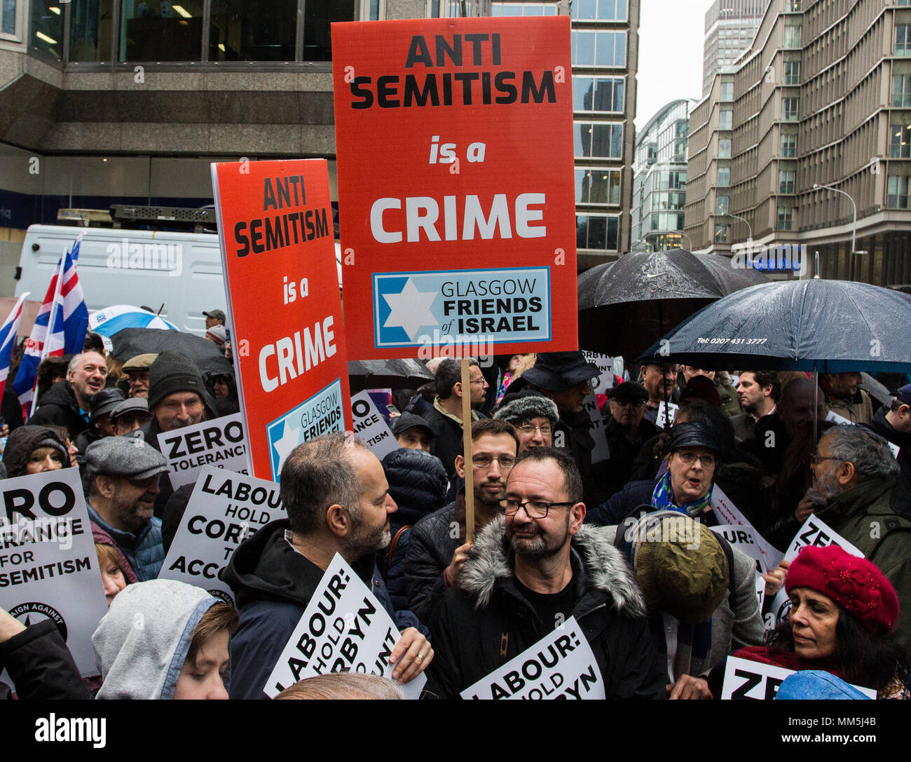 Amid disputes over the Labour party's handling of claims of anti-semitism, Campaign Against Antisemitism stage demonstration at Labour Party head office in Victoria.  Featuring: Atmosphere, View Where: London, England, United Kingdom When: 08 Apr 2018 Credit: Wheatley/WENN - Stock Image