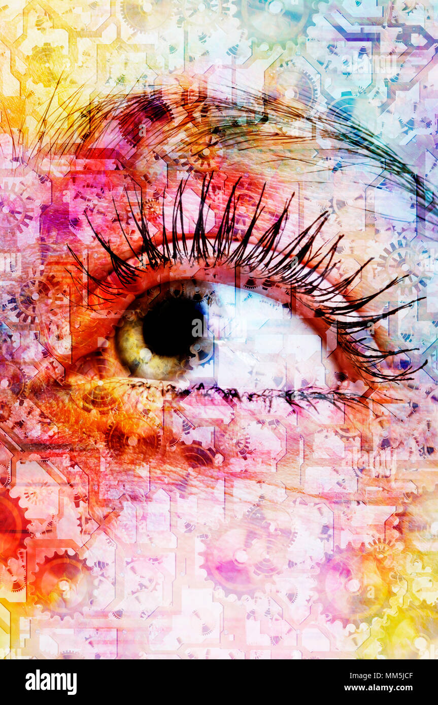 composite of abstract colors and a female eye - Stock Image