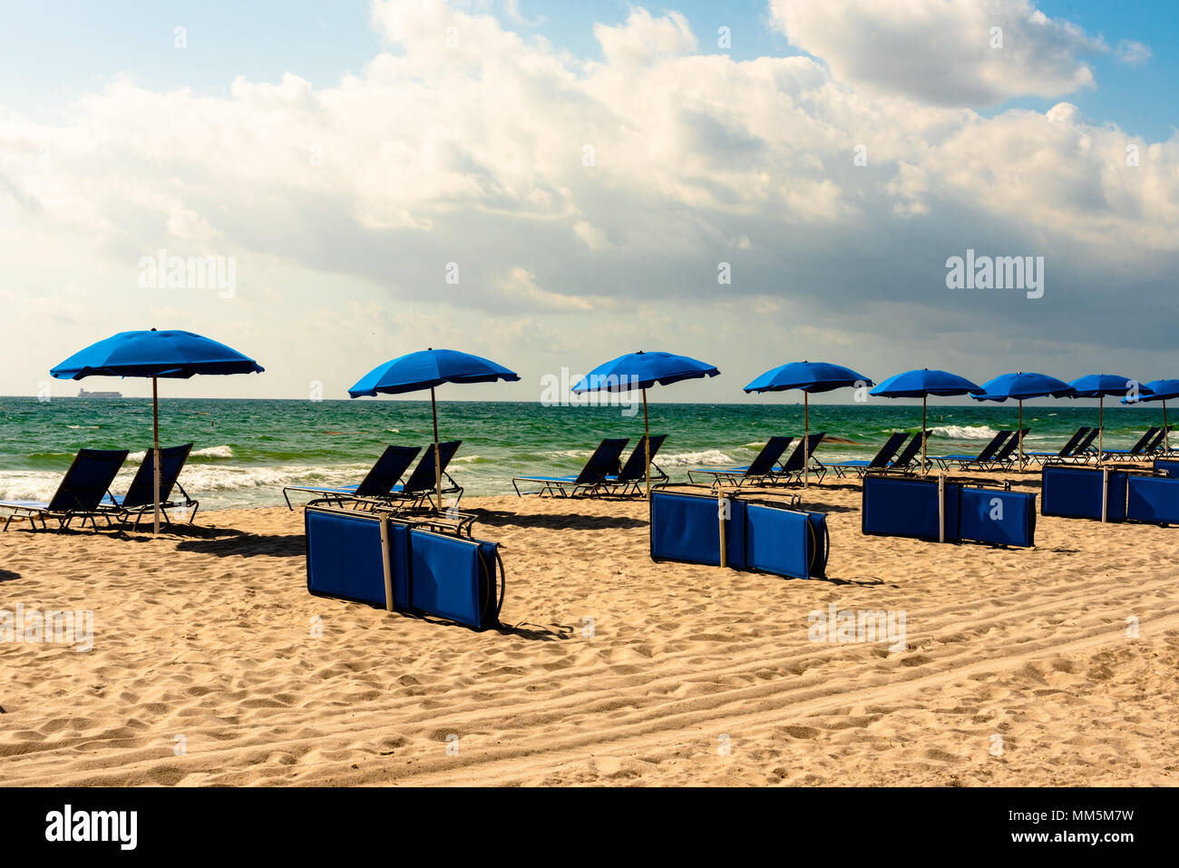 Blue lounge chairs and blue umbrellas line a Florida beach under blue skies. - Stock Image