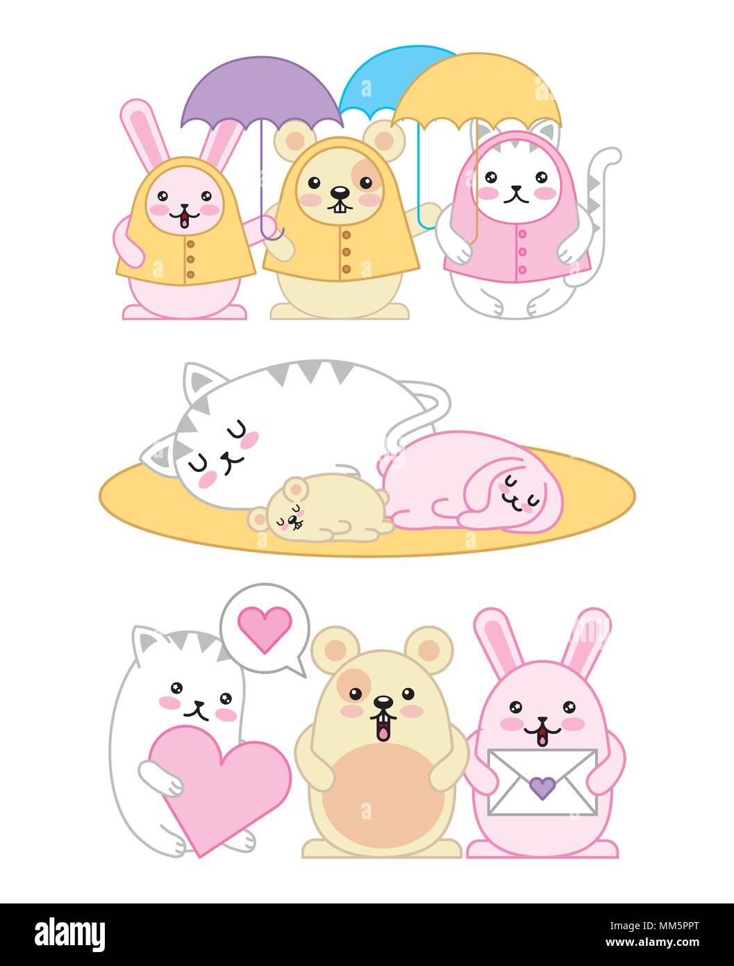 Image of: Kawaii Drawings Kawaii Animals Mouse Kitty Cat And Rabbit Cartoon Vector Illustration Alamy Kawaii Animals Mouse Kitty Cat And Rabbit Cartoon Vector