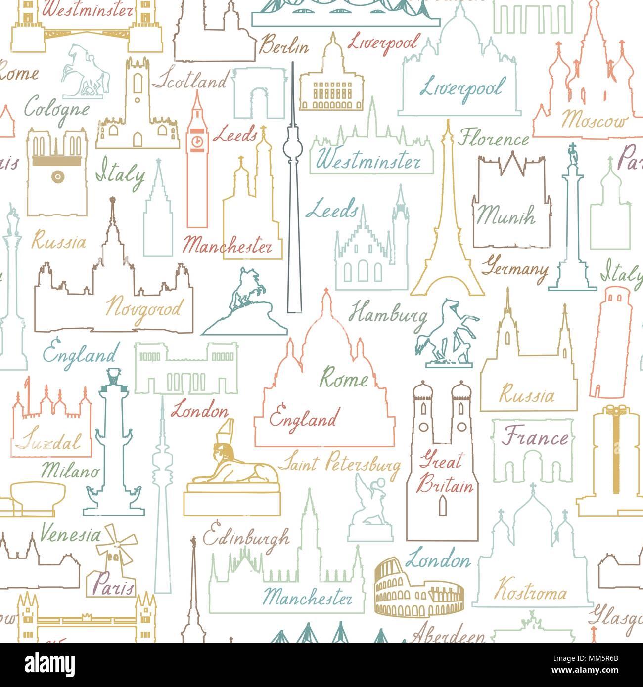 Travel world landmarks seamless pattern. Travel sight icon tile background - Stock Vector