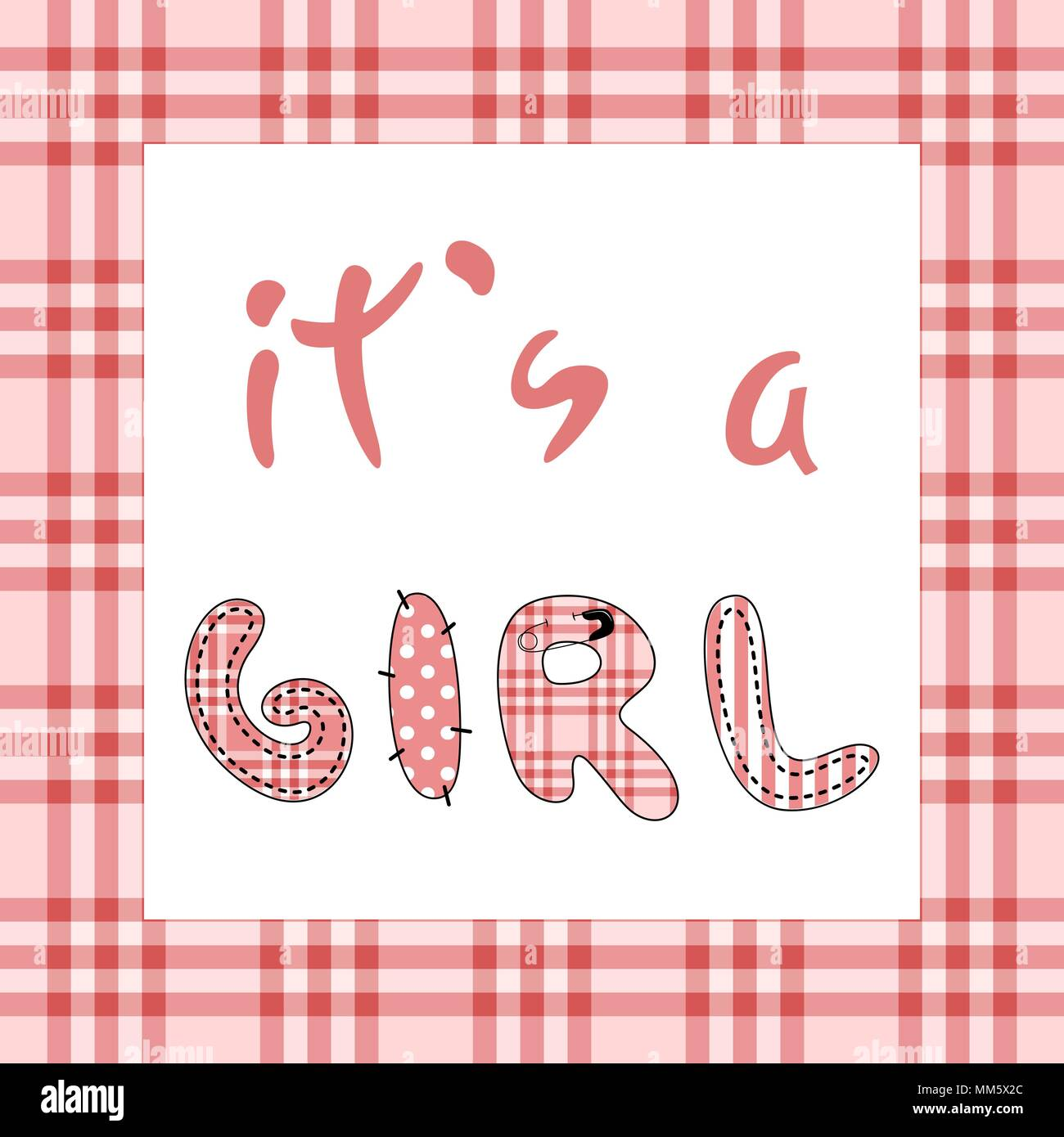 It S A Girl Baby Shower Invitation Template With Hand Lettering