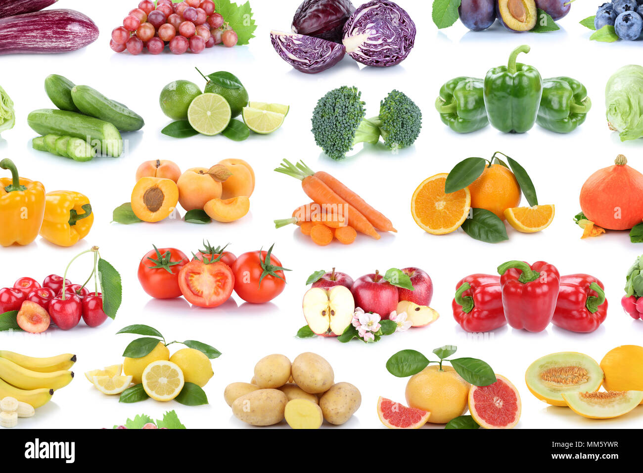 Fruits and vegetables collection background isolated apples lemons oranges berries lettuce colors tomatoes fruit on a white background - Stock Image