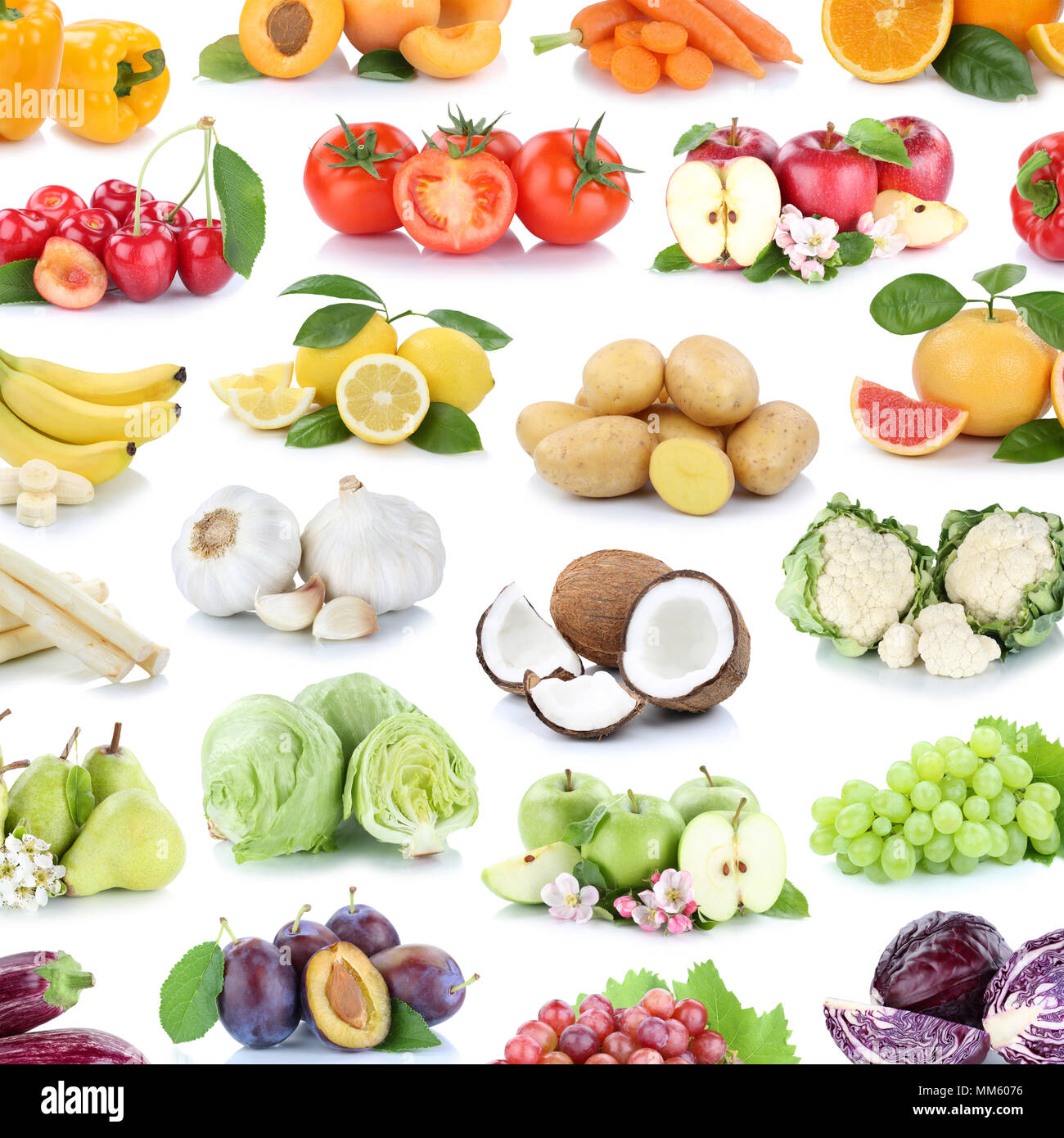 Fruits and vegetables collection background square apples banana oranges lemons grapes fruit on a white background - Stock Image
