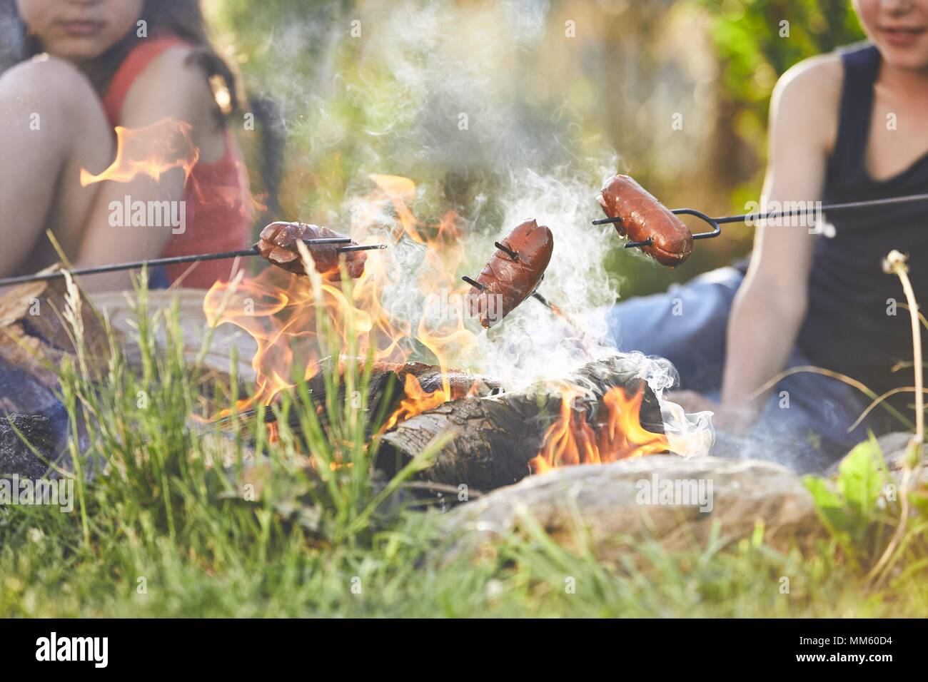 Children enjoy campfire. Girls (family) toasting sausages on the garden. - Stock Image