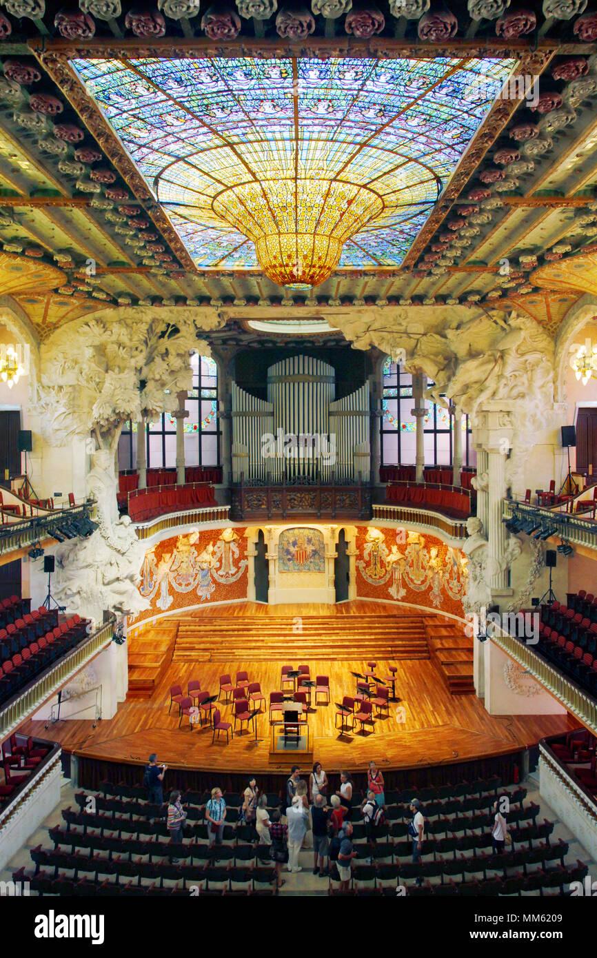 Palau de la Música Catalana Concert Hall, Barcelona, Catalonia, Spain - Stock Image
