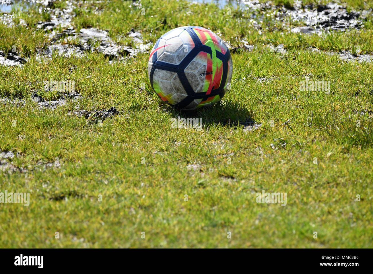 Waterlogged football pitch - Stock Image